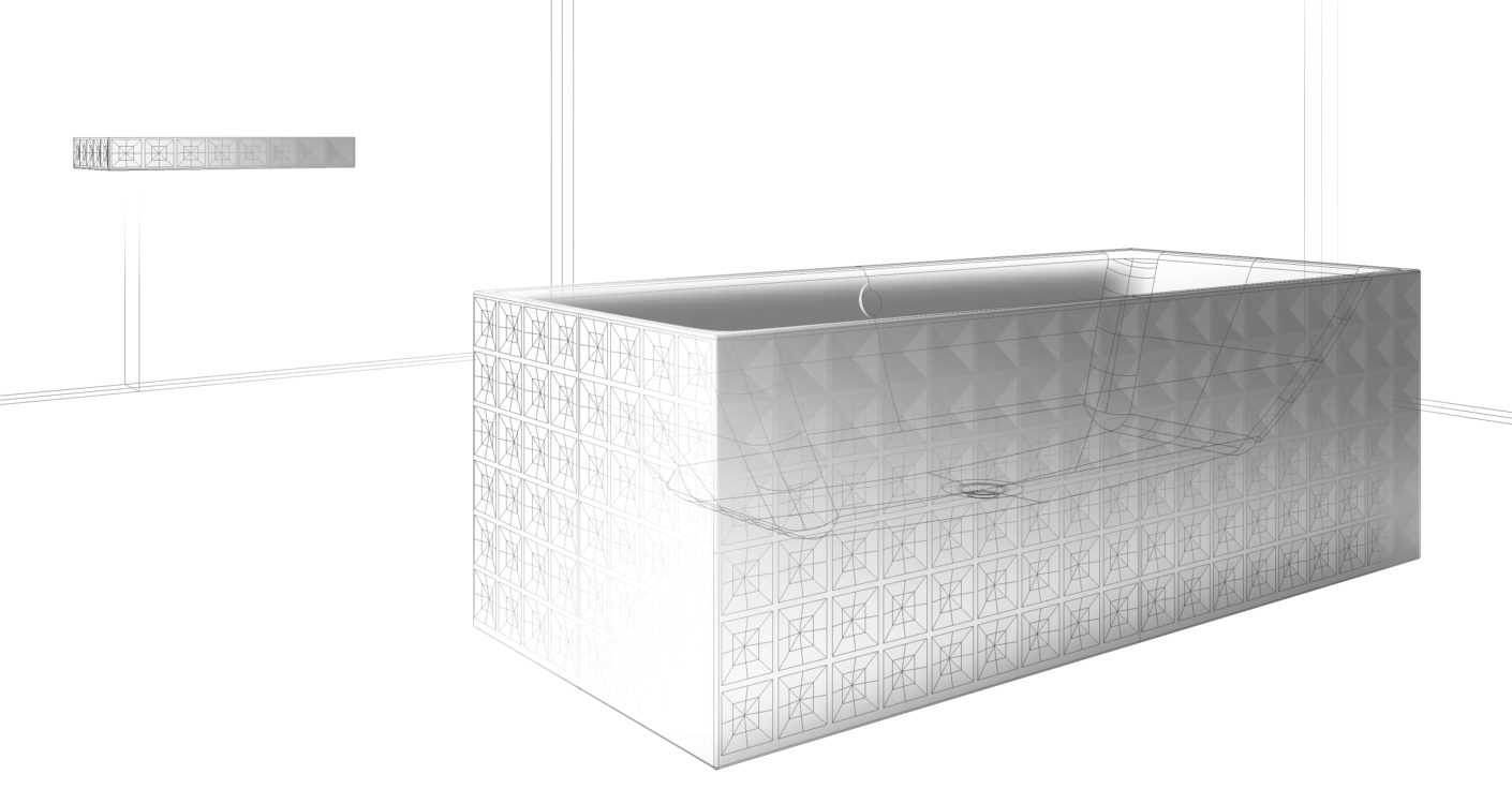 "In the spacious bathtub of the ""Bette Loft Ornament"" series the inner polygonal shape enhances reclining comfort."
