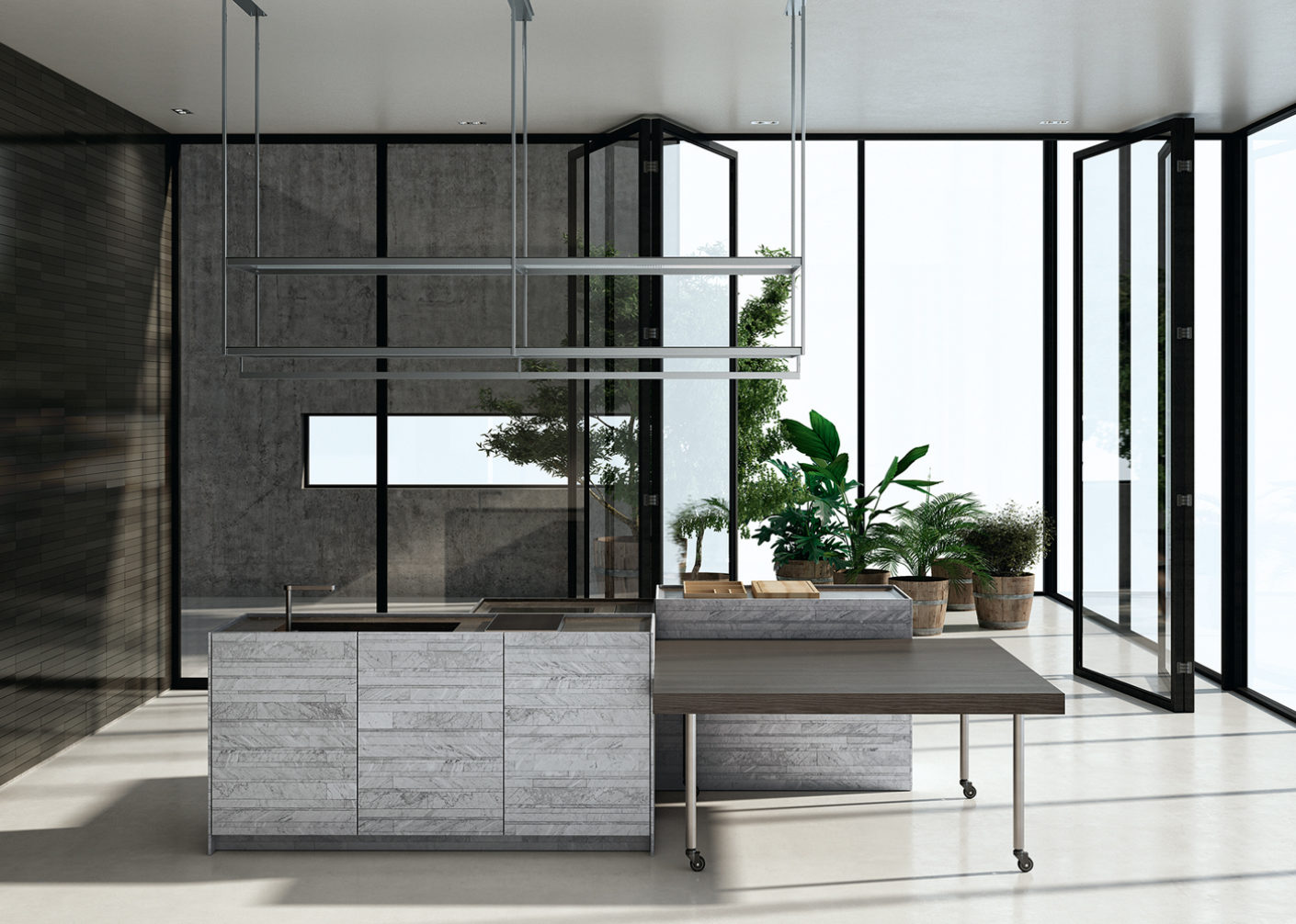 """Flexible: With Piero Lissoni's """"Combine"""" function blocks for Boffi, kitchen furnishings can be distributed throughout the room as required."""