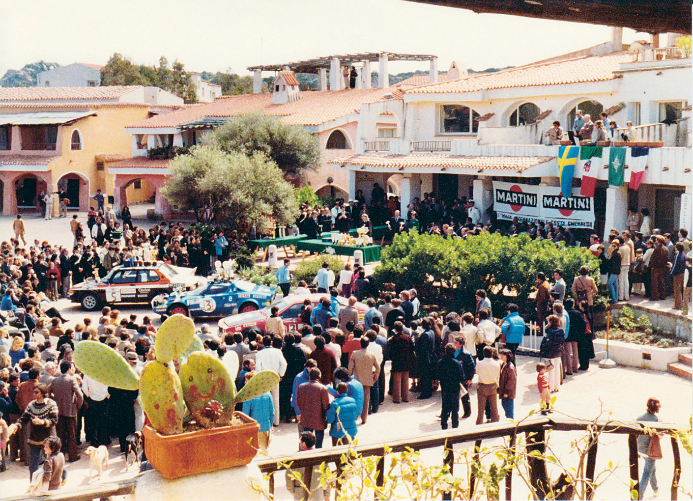 Cup presentation at the Rally Costa Smeralda on the main square of Porto Cervo (photo c. 1980)