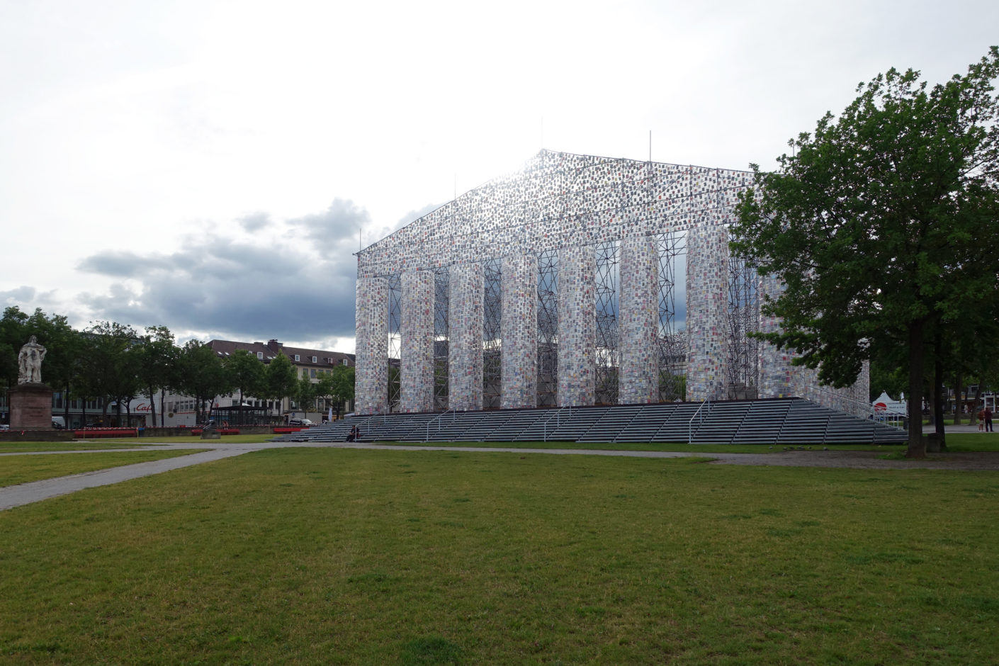 "Correcting the idealized image of Classical Antiquity: Kassel's Fridericianum with the ""Parthenon of Books"" by Argentine artist Marta Minujín."