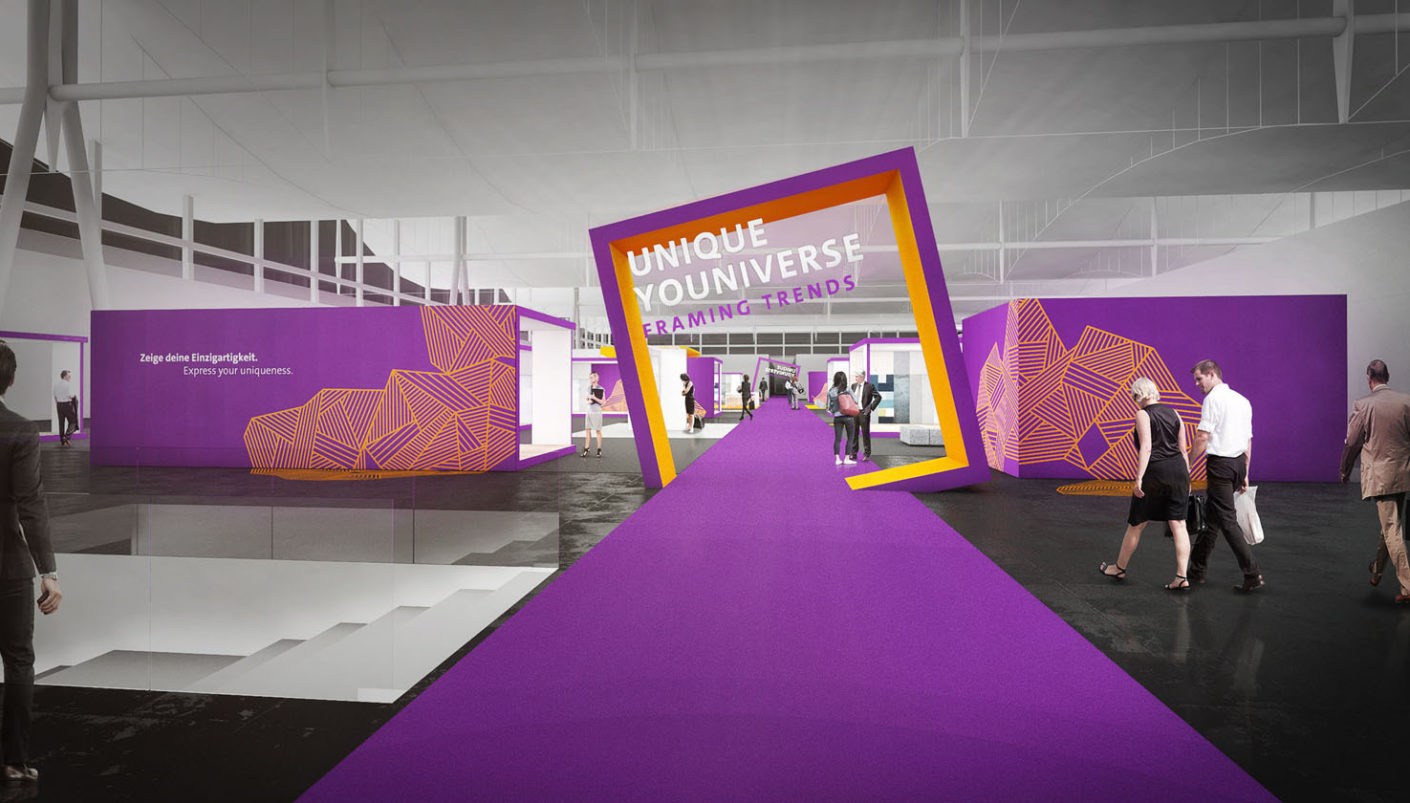 "Welcome: Around the trend area in Hall 9 with café, stage and exhibition ""Endless Uniqueness"" 20 ""framing trends"" can be found."