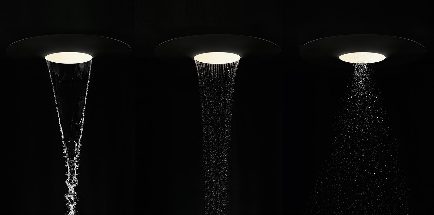 """Aquamoon"" by Dornbracht combines fascinating lighting scenarios with three different types of flow modes: ""Aqua Circle"", ""Queen's Collar"", and ""Tempest"" (from left to right)"
