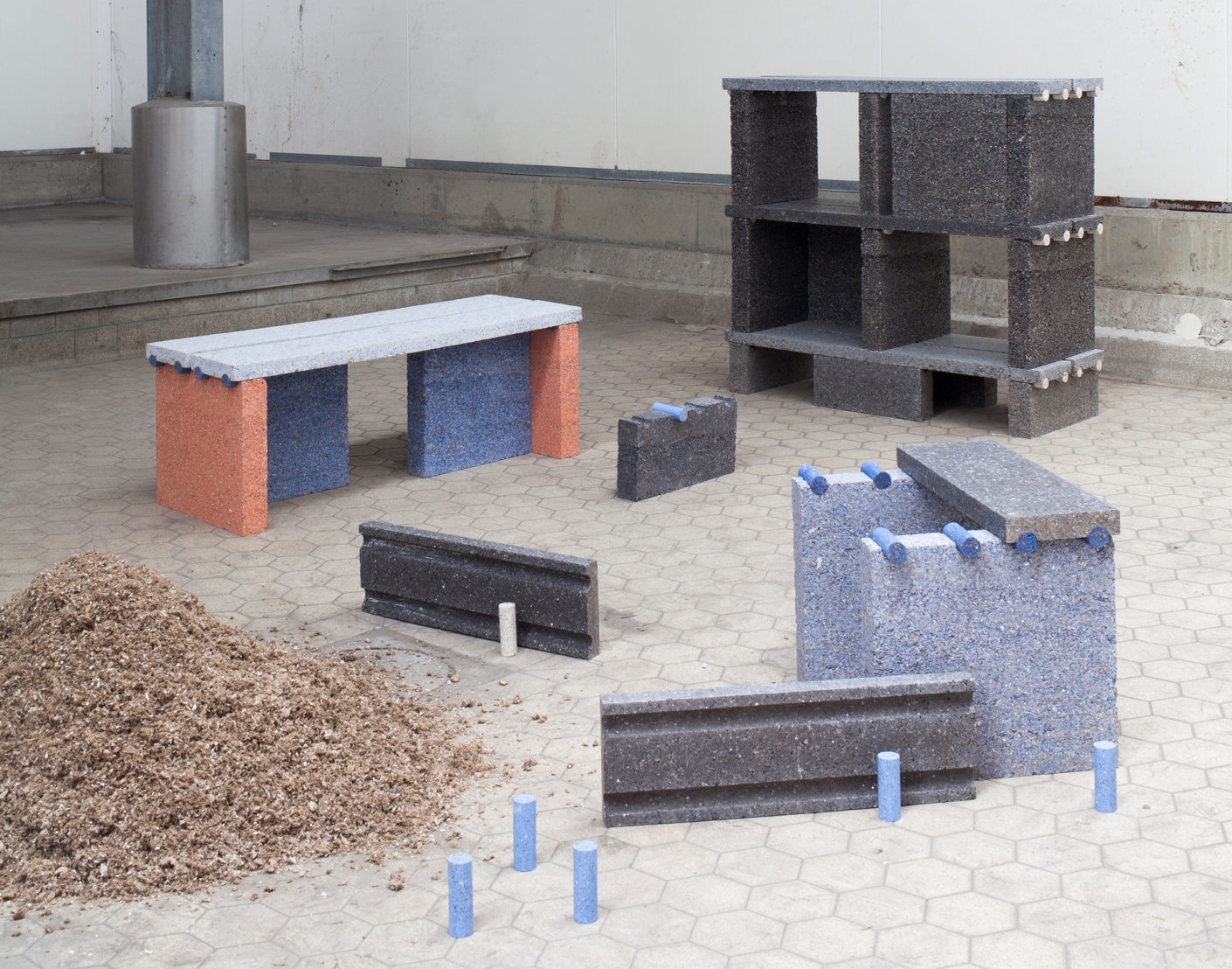Furniture by the young designer Tim Teven made of a material based on recycled paper.