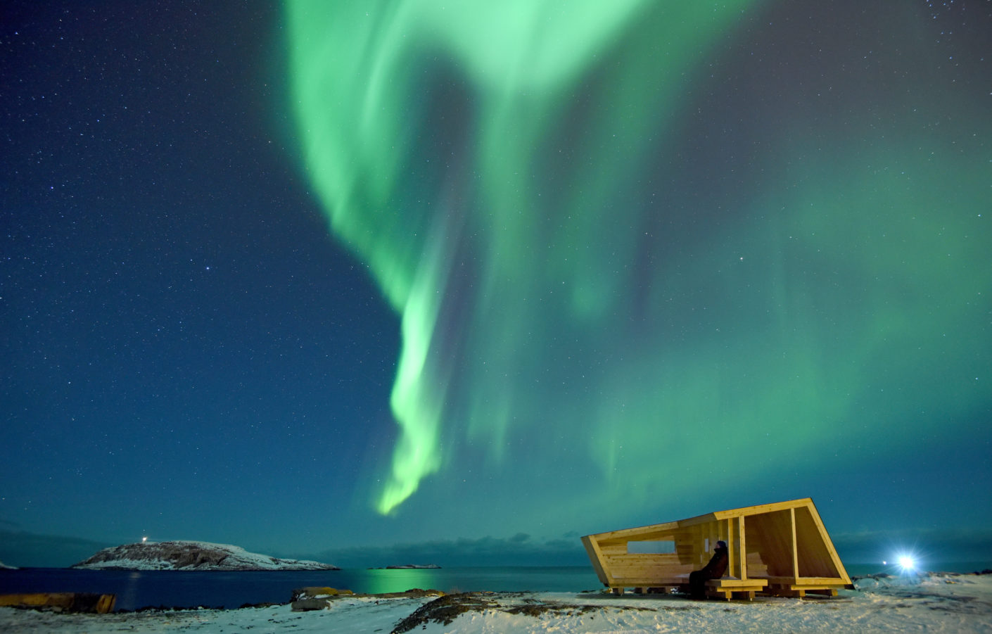 Dancing aurora borealis over the Hasselnes bird hide.