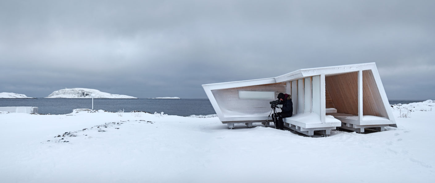 Wind shelter for watching birds in Norway, design by Biotope Architects