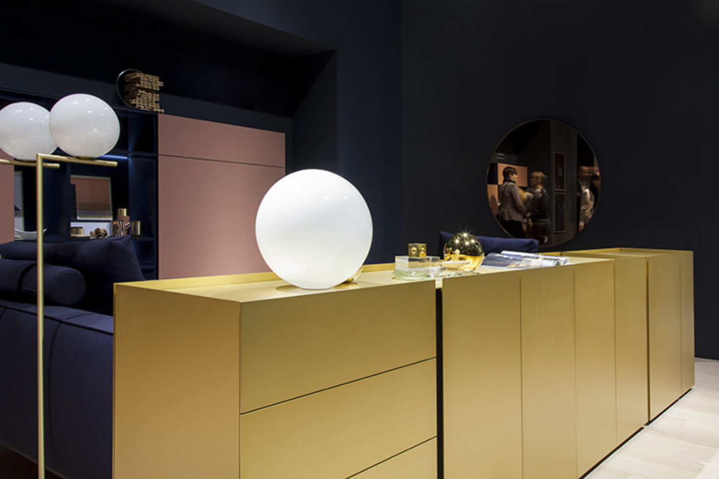 "Refinement: Thanks to a gold-gleaming surface even simple forms catch the eye, for example the sideboard ""Jorel"" by Philipp Mainzer for Interlübke."