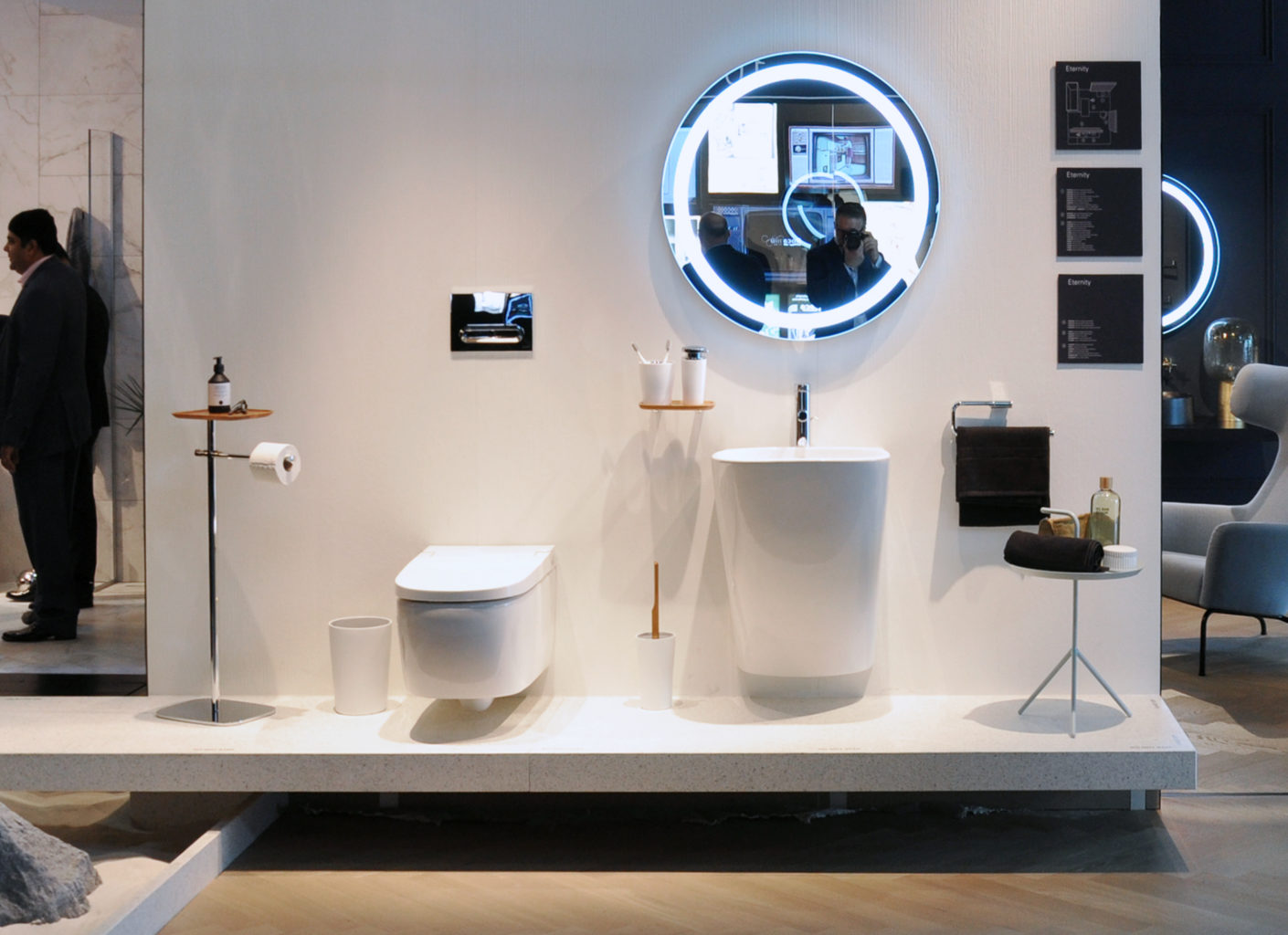 """Incognito: """"Eternity"""" by VitrA conceals disruptive pipes and sets elegant accents with wood and chrome."""