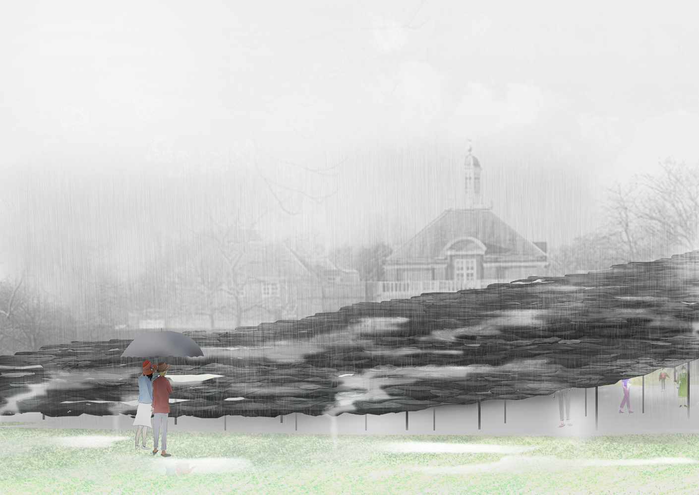 Junya Ishigami's design for the Serpentine Pavilion 2019 in London's Kensington Gardens: a slate mountain growing out of the lawn.