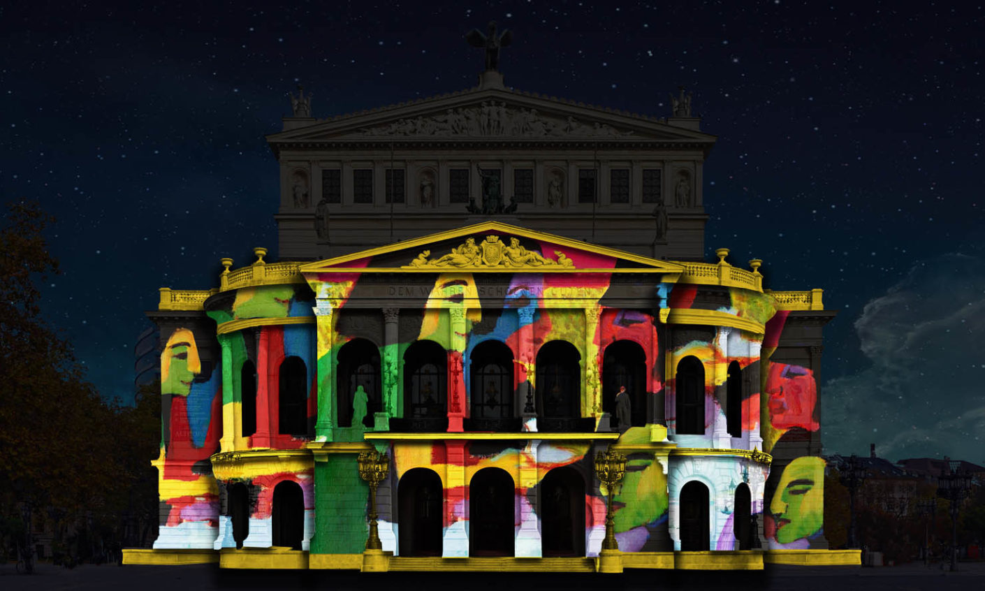 Old opera as a projection screen: The Italian design studio Karmachina has created a video-mapping show that narrates the various phases of Alte Oper's history.
