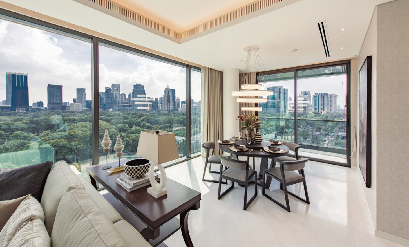 The floor-to-ceiling windows of the 17-storey building offer a magnificent panorama of nearby Lumpini Park.