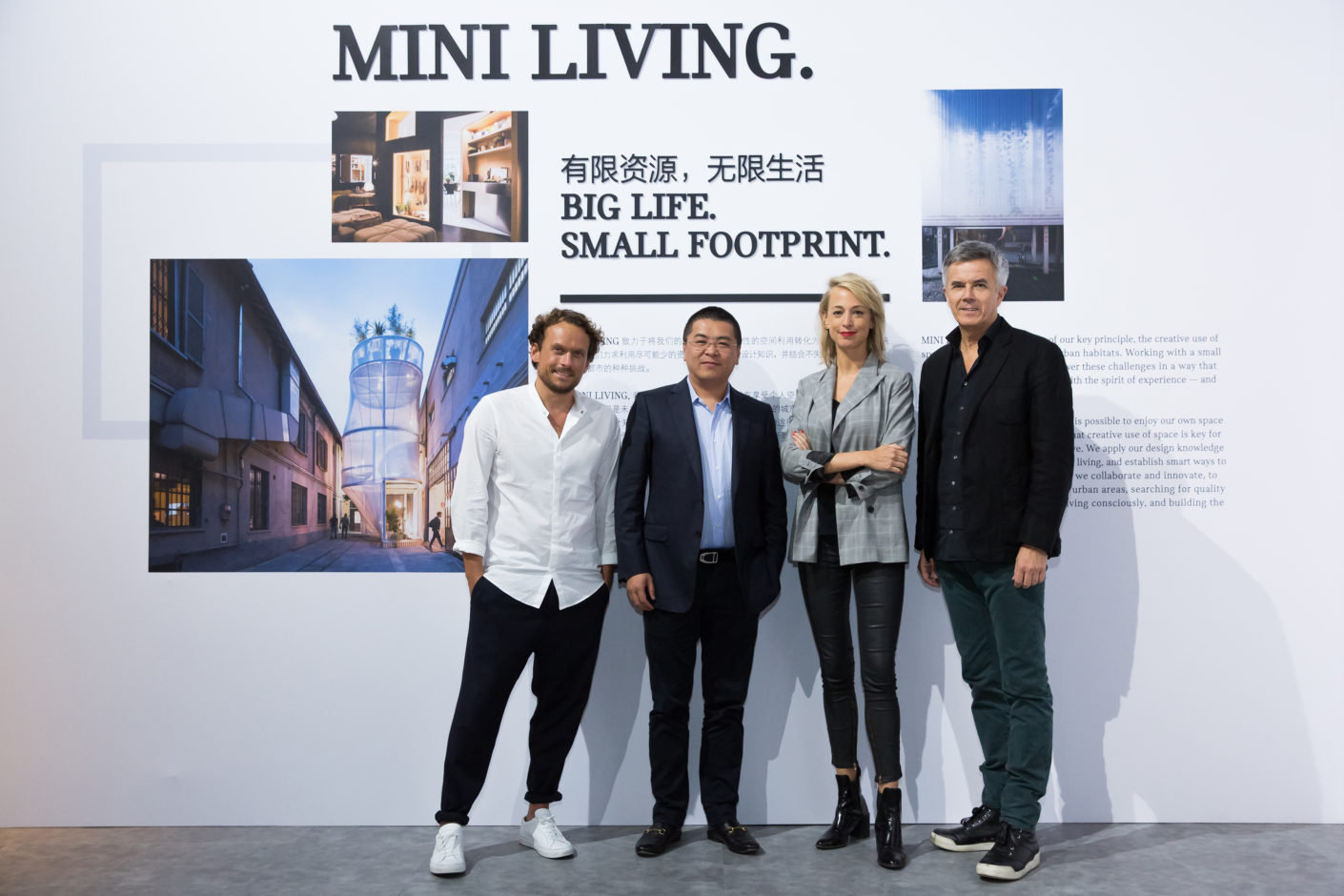 Mini Living Shanghai, Stylepark, Oke Hauser (Creative Lead MINI LIVING), Jerry Shen (Founder of Base, Managing Director und Co-CEO of Nova Property Investment Co. Ltd.), Esther Bahne (Leiterin MINI Brand Strategy and Business Innovation), Peter Schwarzenbauer, Mitglied des Vorstands der BMW AG, MINI, Rolls-Royce, BMW Motorrad, Kundenerlebnis und Digital Business Innovation BMW Group