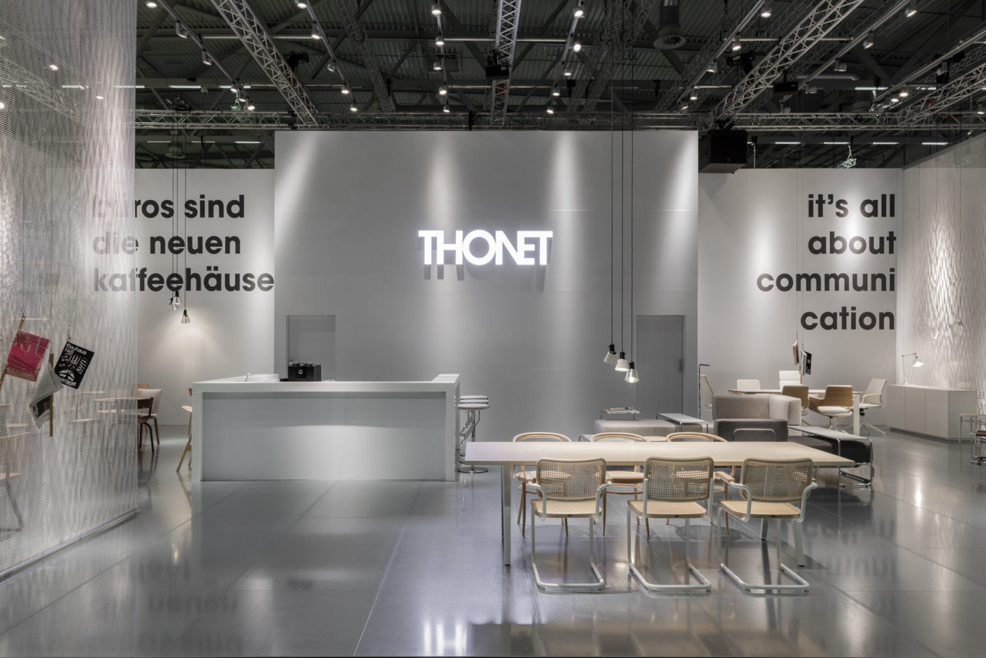 Metal surfaces were an important design element of the Thonet booth designed by Ply Studio.