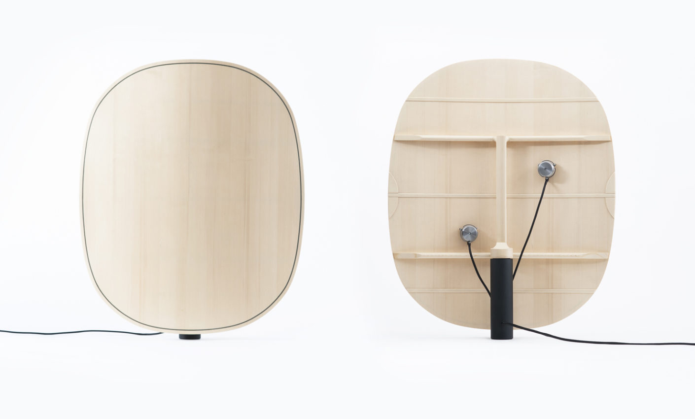 "Amplifier ""Surfaces Sonores"": The curved surface of the pressed plywood panels maximizes the sound of the buzzer."