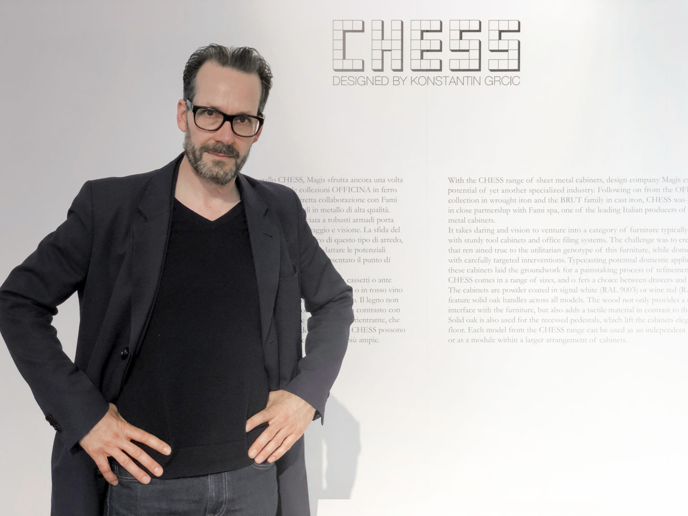"Konstantin Grcic at the presentation of his ""Chess"" collection for Magis."