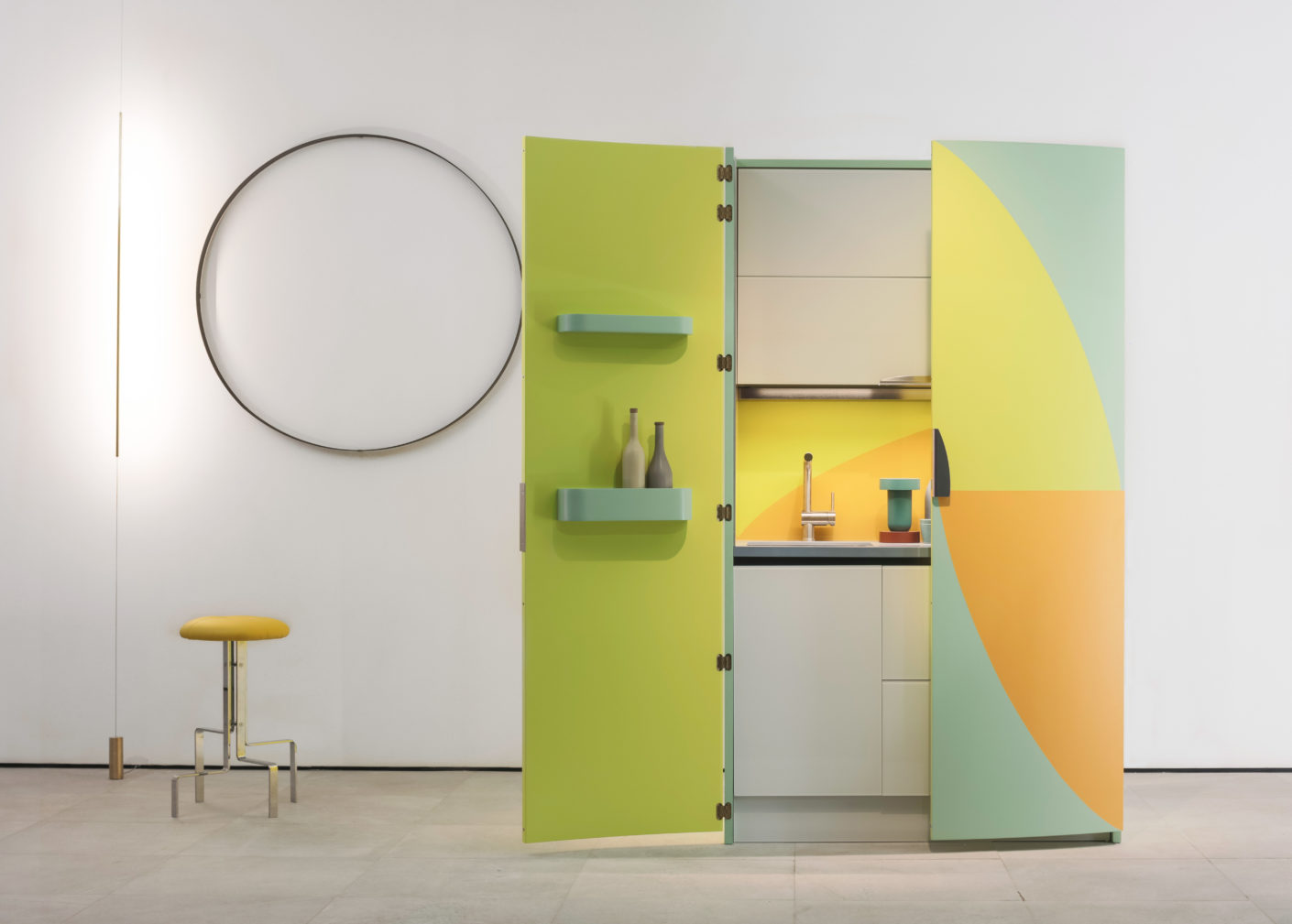 "Expressive or minimalist: Sanwa from Japan works with Italian designers. Alessandro Mendini created the ""AM 01"" cupboard kitchen."