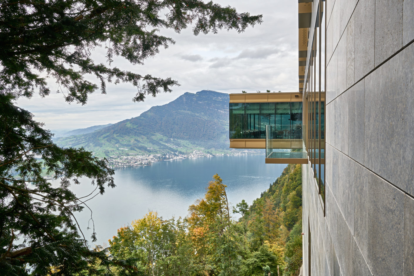 The upstream restaurant offers a panoramic view over the nearby Lake Lucerne.
