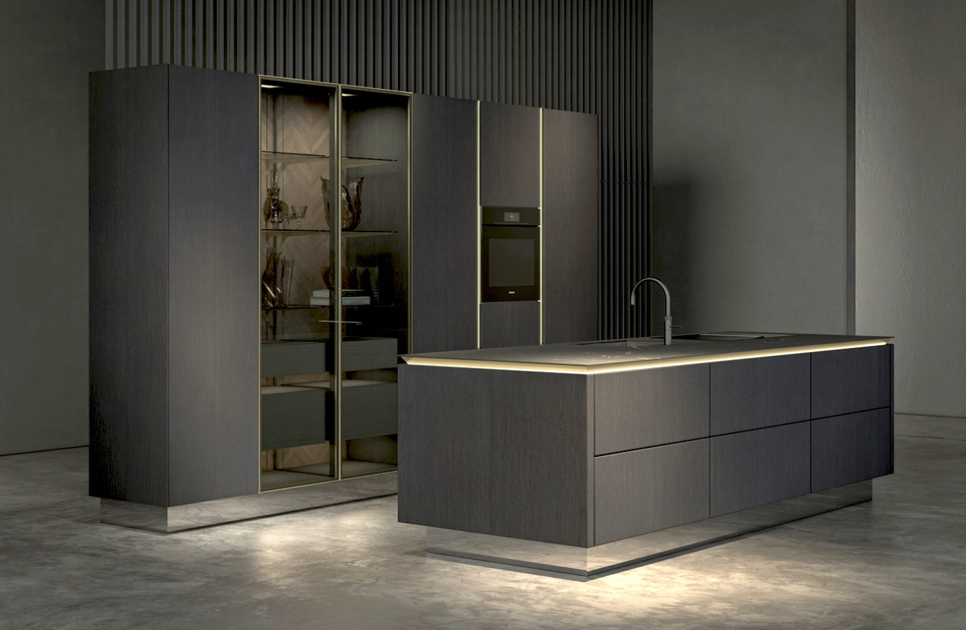 "Jewel: The ""Concept""-kitchen of the ""Pure""-style world by Siematic lets light shine from bronzed recessed grips"