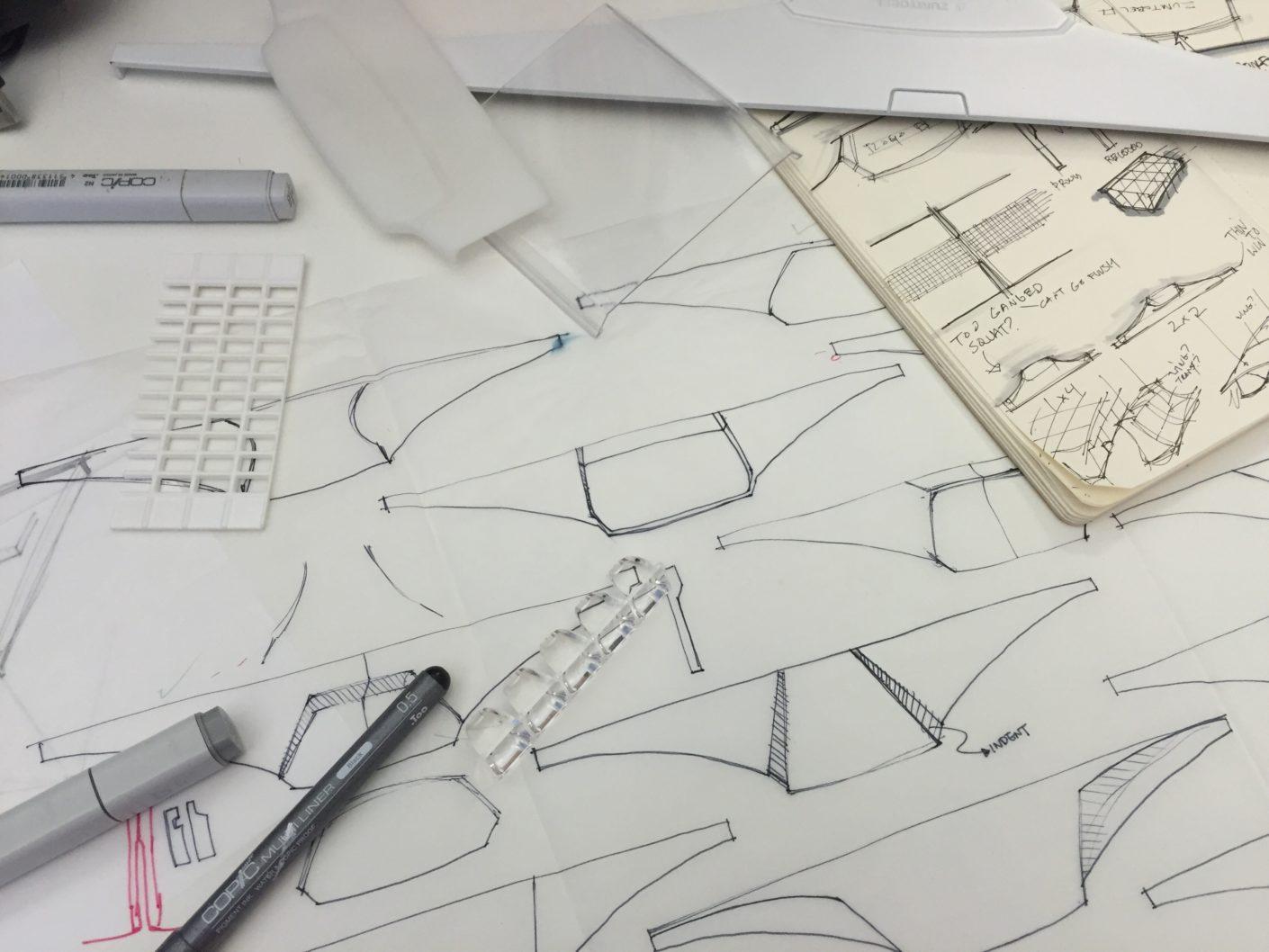 Skizzen und Designstudien der Mellow Light 6 von Zumtobel