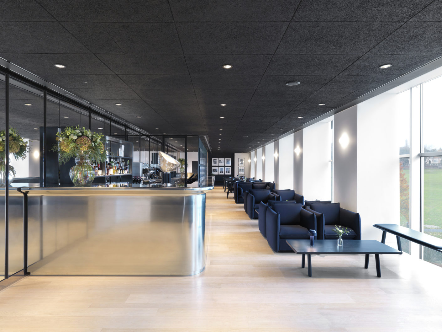 The restaurant area of the Design Museum London, designed by the Rotterdam architect's office OMA.