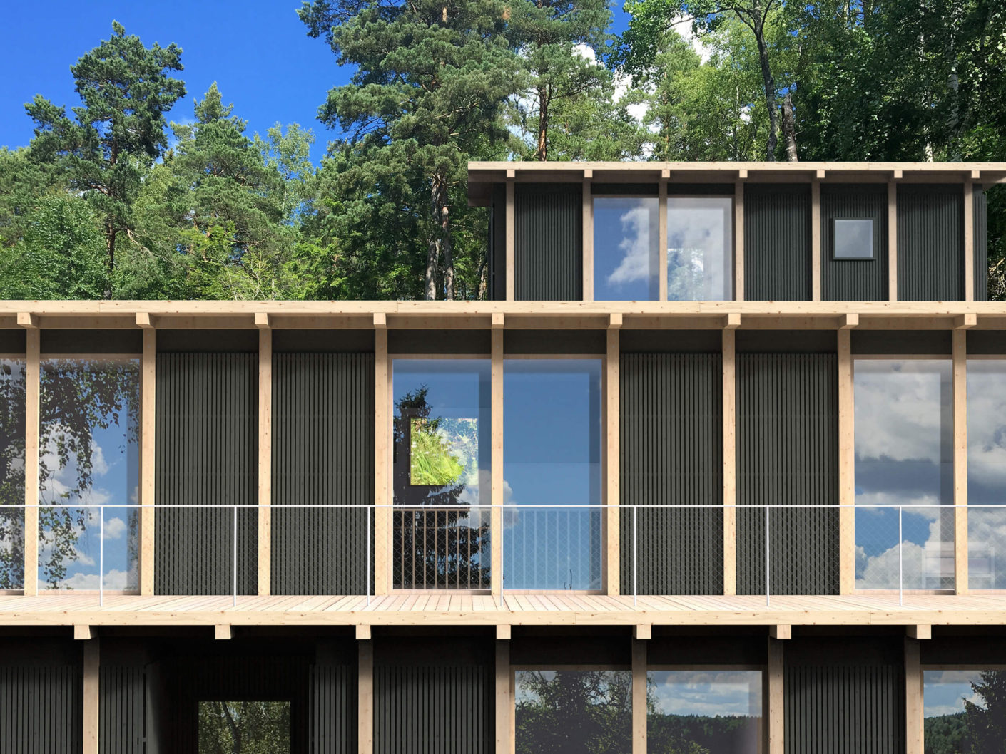 Clearly structured: the façade of the building is grid-shaped with wooden elements.