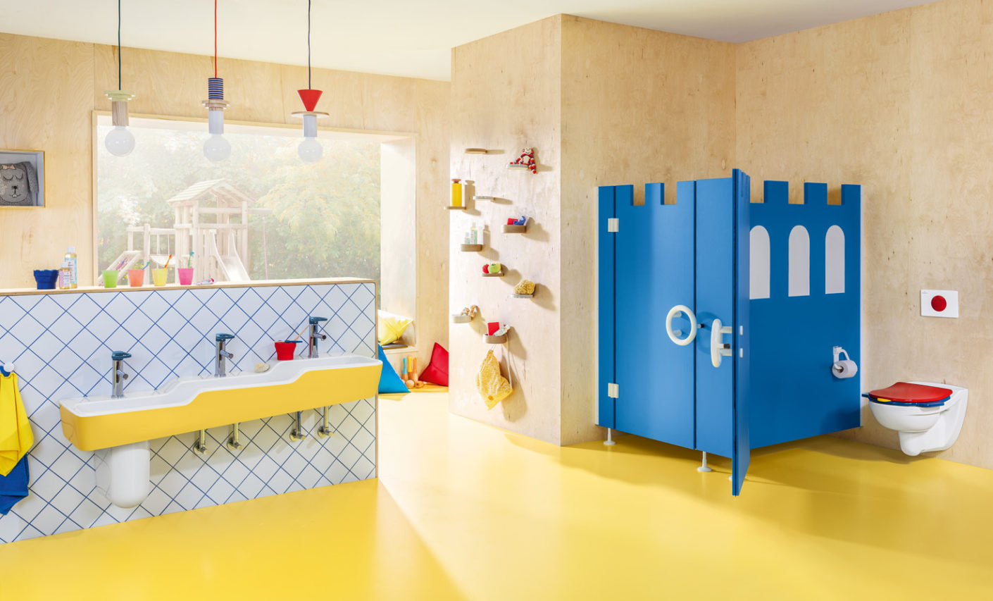 "From washbasins to toilet seats, the products in Villeroy & Boch's ""O.novo Kids"" bathroom collection are ergonomically designed for children."