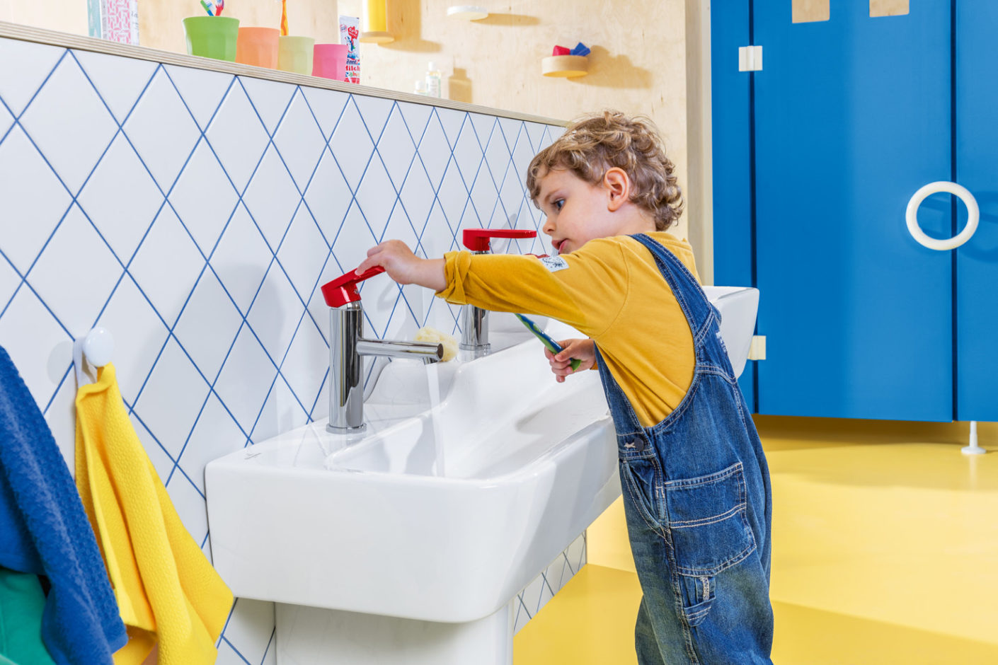"In the way of faucets ""O.novo Kids"" offers a single-lever mixer with scald protection which allows small users to set water pressure and temperature easily and by themselves."