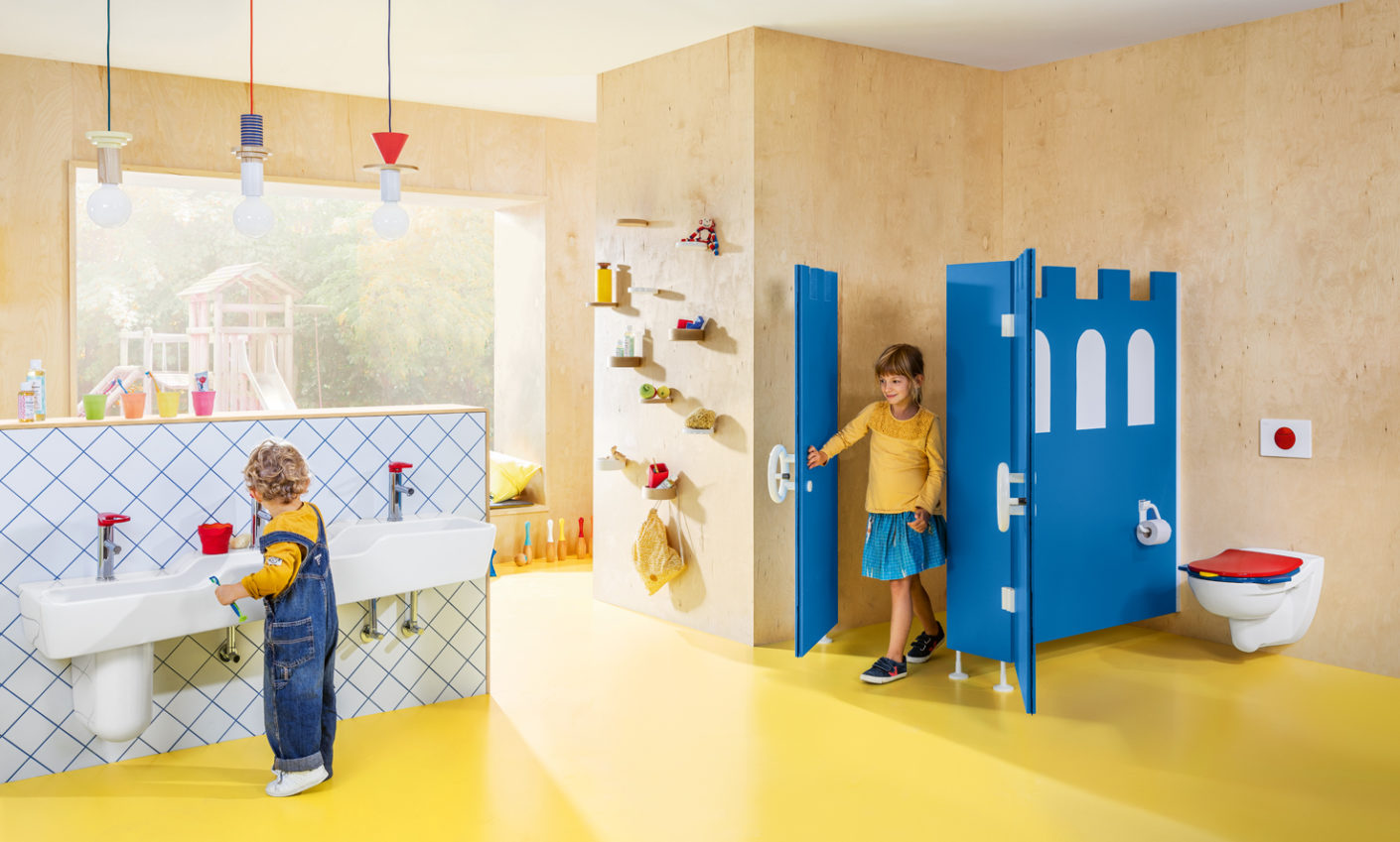 "The Villeroy & Boch bathroom series ""O.novo Kids"" is functional and encourages children to enjoy trying it out."
