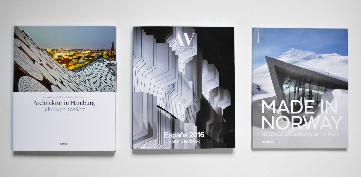 The books extend the view beyond the architecture: yearbooks from Hamburg, Spain and Norway.