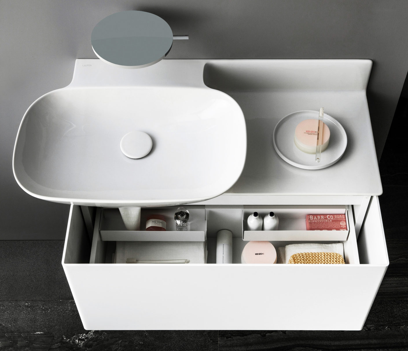 "A heart for storage space: Toan Nguyen Collection ""Ino"" for Laufen is composed of SaphirKeramik."
