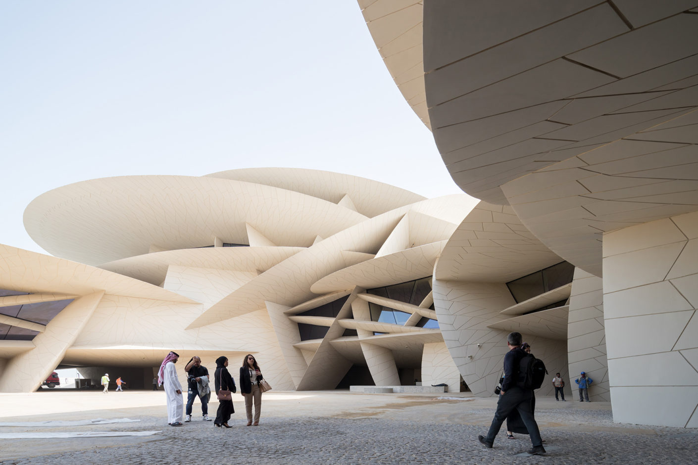Ateliers Jean Nouvel were inspired by the sand rose, a desert crystal, to create the shape of the National Museum of Qatar.