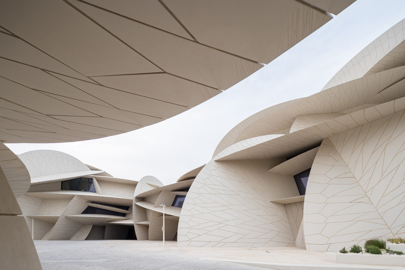 The architects used fibreglass-reinforced concrete for the striking pane shapes.