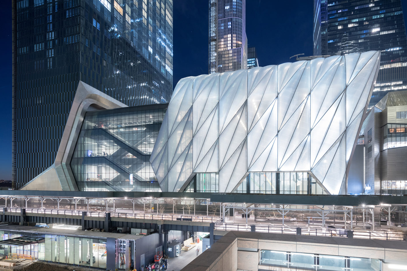"The cultural centre ""The Shed"" forms the heart of the Hudson Yards development area in Midtown Manhattan."