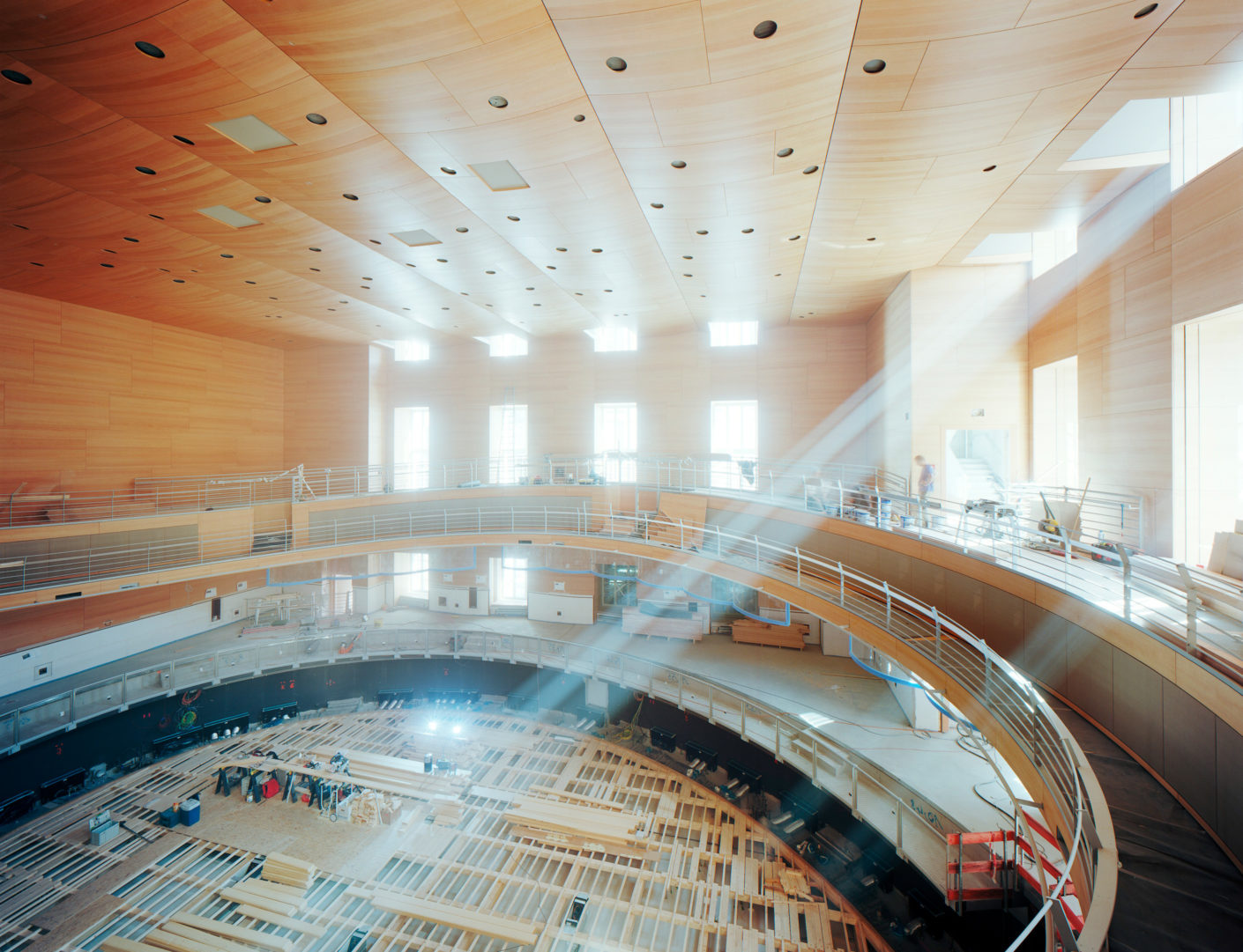 "The Lindner Group used wood as the main material for the interior fit-out of the ""Pierre Boulez""-hall."