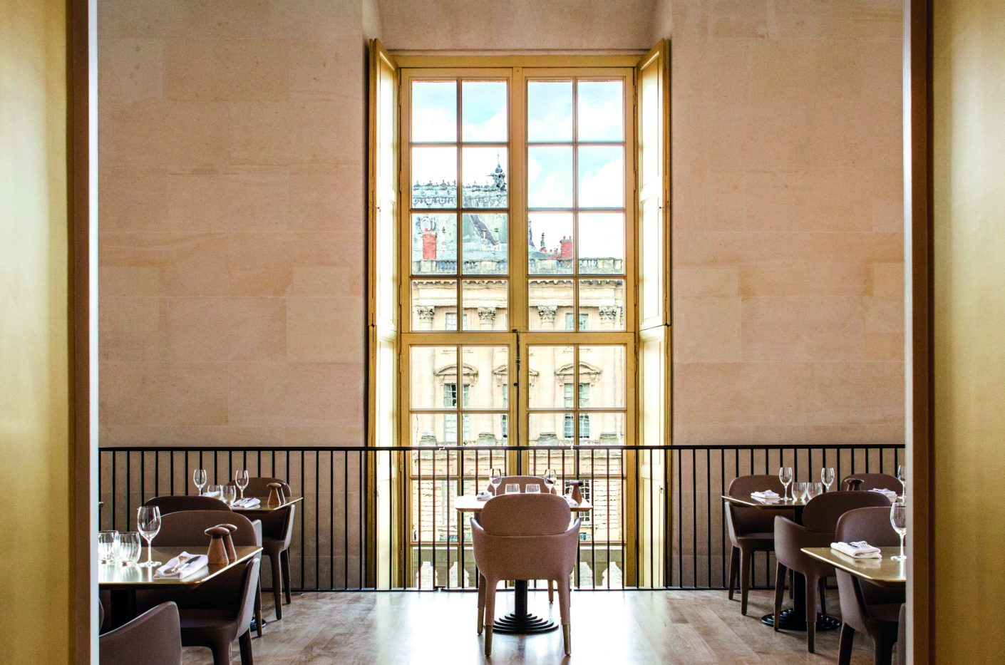 "The award-winning star chef Alain Ducasse runs the Café ""Ore"" on the first floor of the Pavilion Dufour in one of the wings of the palace in Versailles"