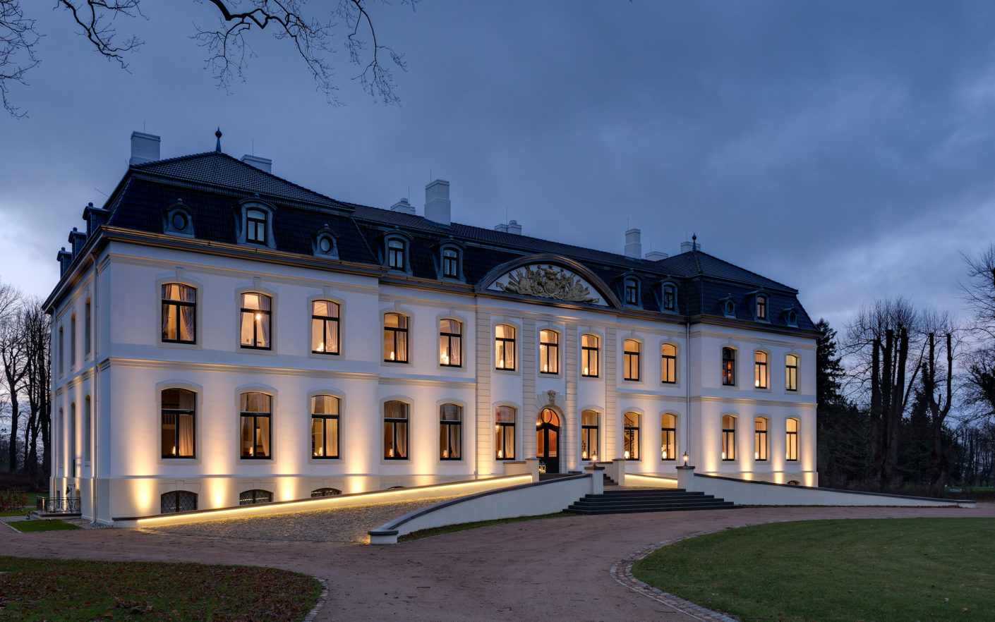 The 5-star Schlossgut Weissenhaus hotel in Schleswig-Holstein is scattered across no less than 40 historical buildings that formed the ancient estate.