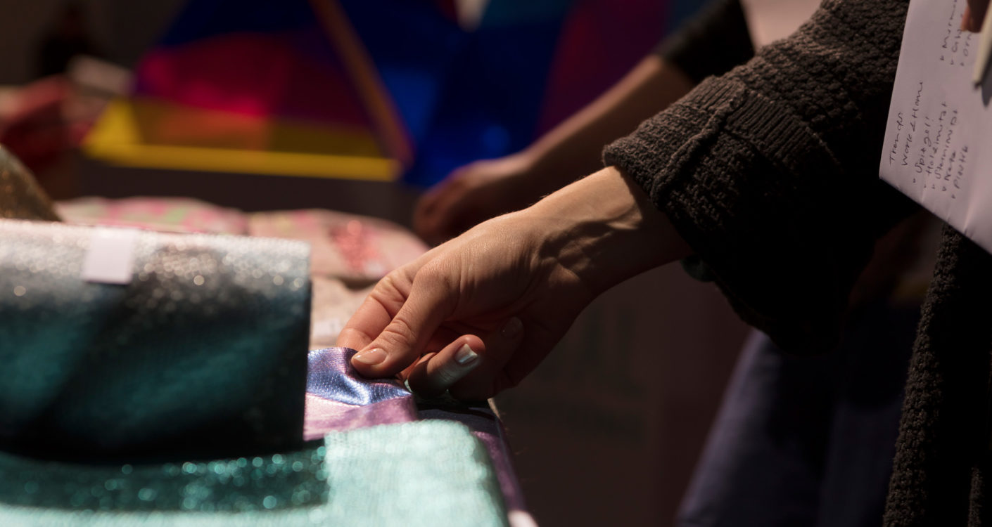"Analog interactivity: Visitors were able to touch the fabrics in the so-called ""Theme Park,"" but that was about it."