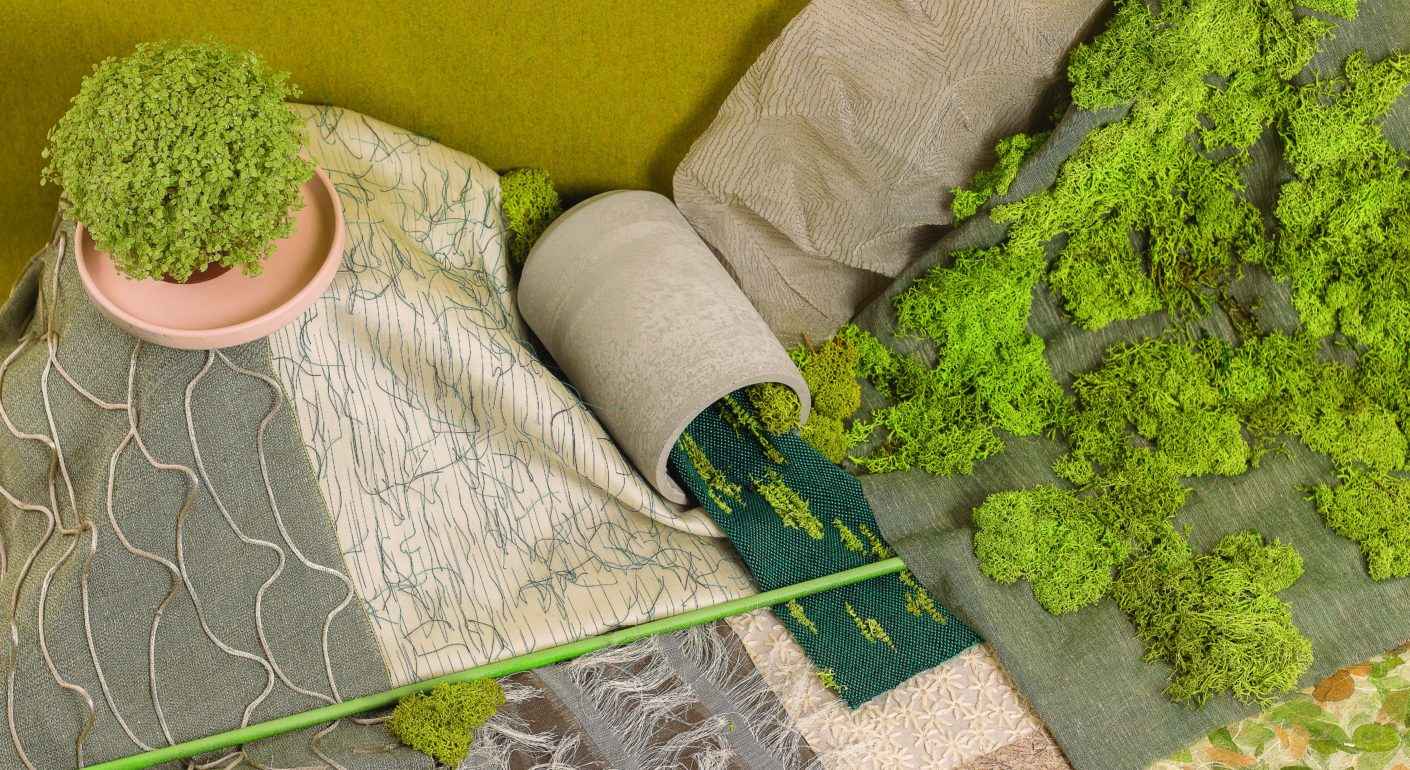 Patterns that resemble roots, and all manner of shades of green and brown bring nature into the world of textiles.