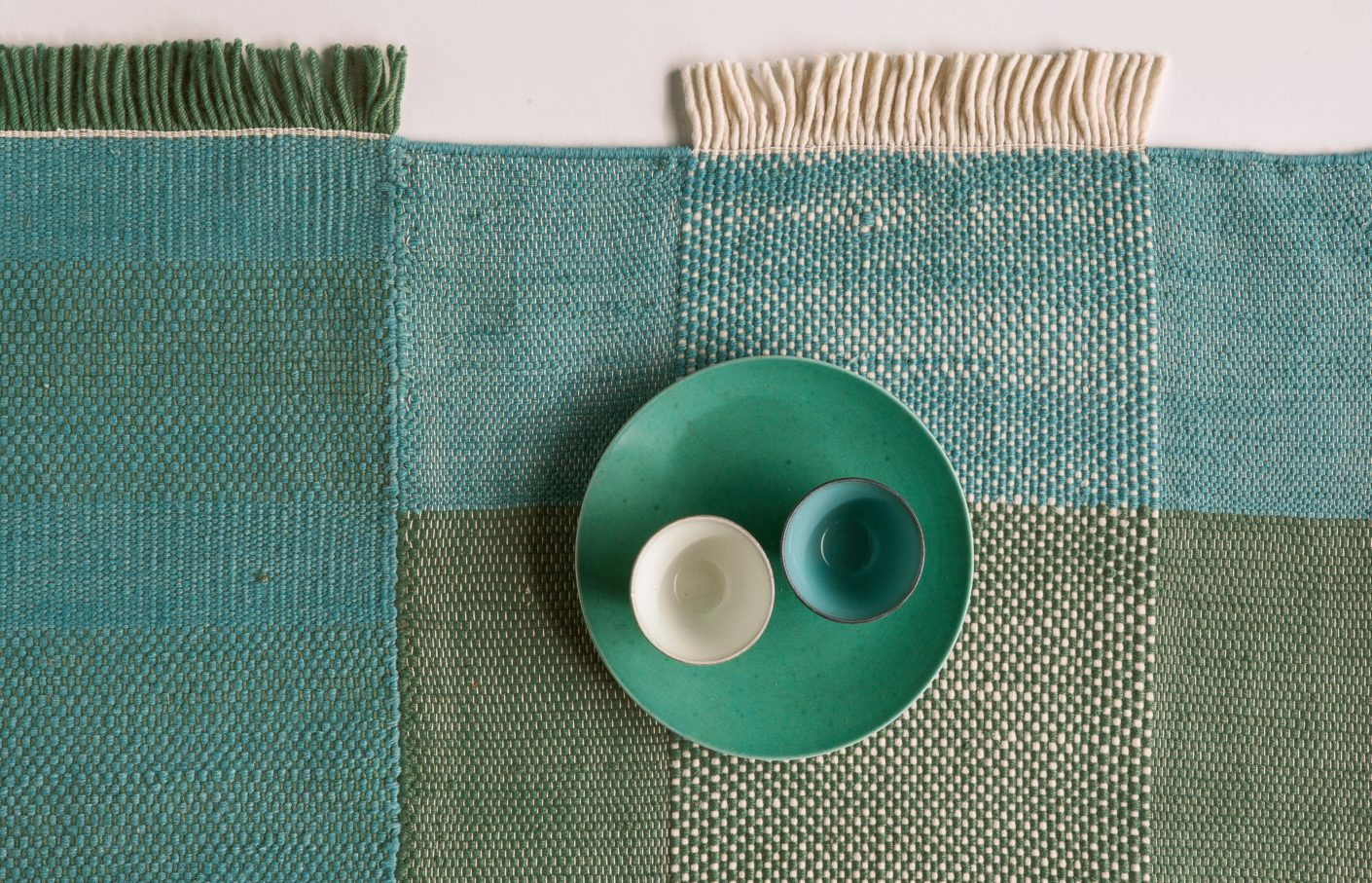 "In a strong green or blue: The carpets in the new ""Tres"" collection are available in different colors."