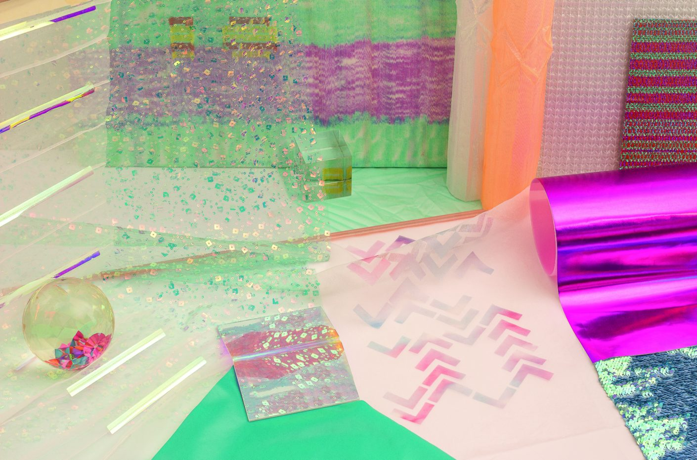 Shimmering range: Foils and fabrics by Dan Project and Felix Diener Studio.