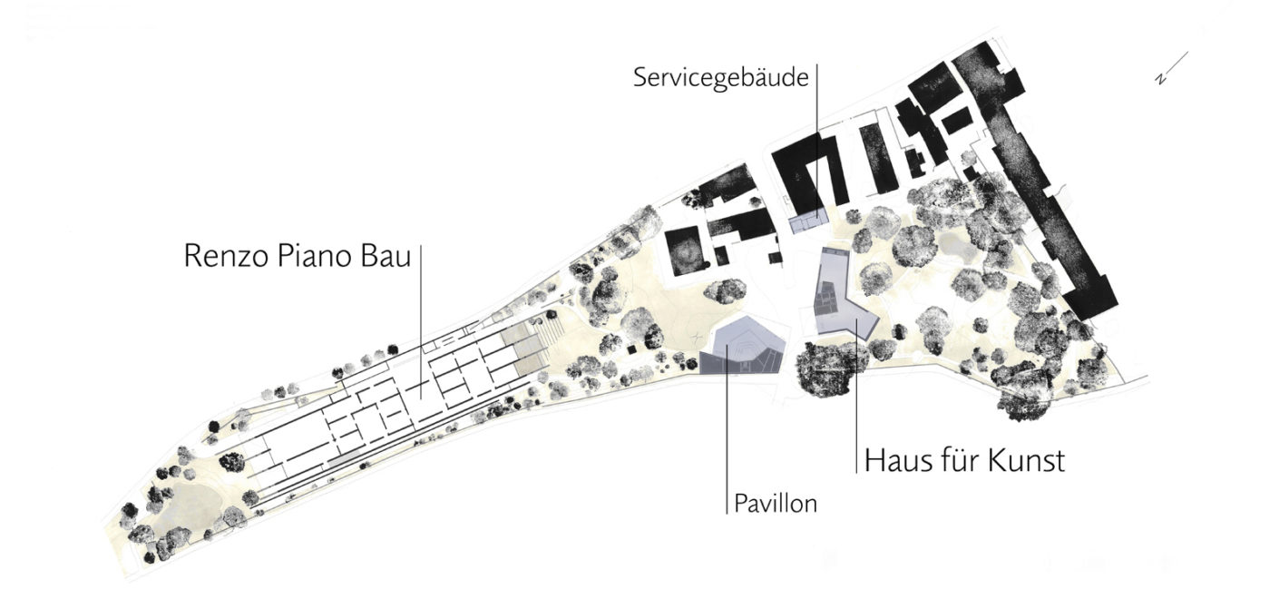 The map is tilted, north and thus also the piano building are located on the left, Zumthor's three new buildings in the center right.