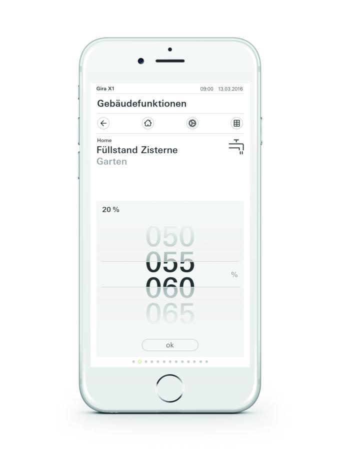 Gira X1 App Wertgeberdisplay