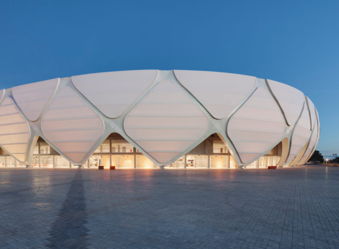 "For the ""Arena da Amazonia"" by gmp architects, 52,000 square meters of coated glass fabric were installed."