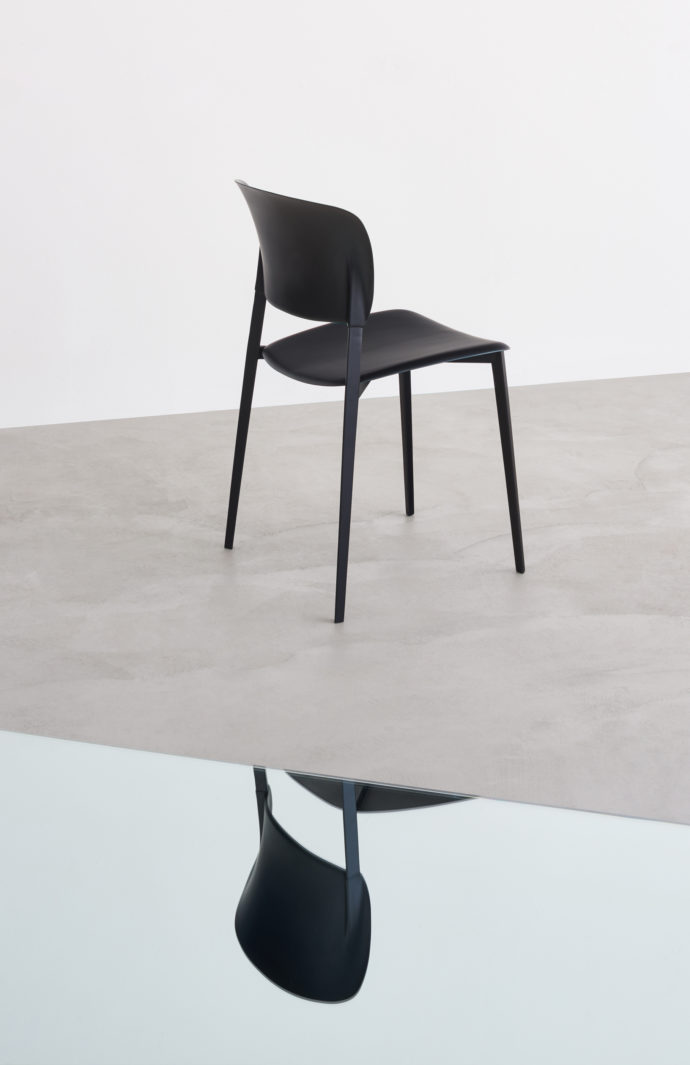 """Ply"" by Desalto combines a scaffold of steel with plastic seat and backrest surfaces."