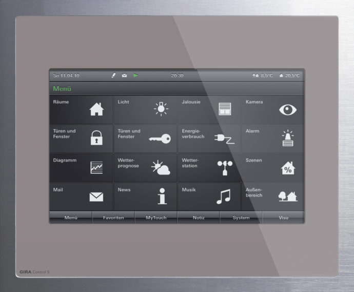 The Gira HomeServers are operated via an intuitive menu navigation. If necessary, all functions integrated in the system can also be switched off at the push of a button.