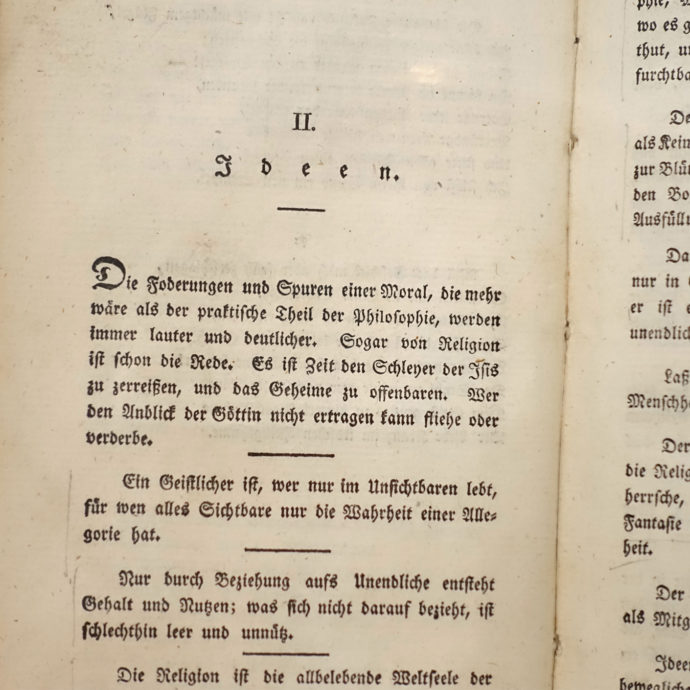 "In a display case in Neue Galerie: A page from August Wilhelm and Friedrich Schlegel's journal ""Athenaeum"", which appeared from 1798 to 1800 and in the curators' opinion is the source of a political fatal form of idealism."