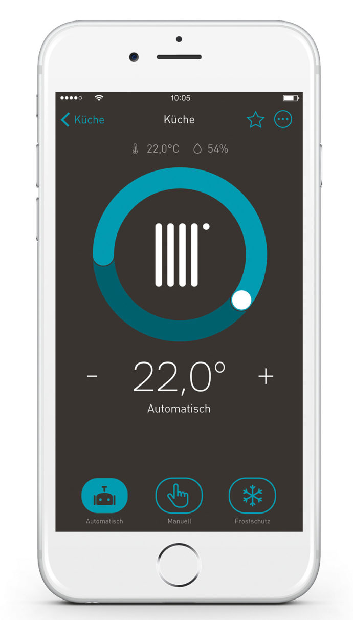 Room temperature control and humidity display with the eNet Smart Home App.