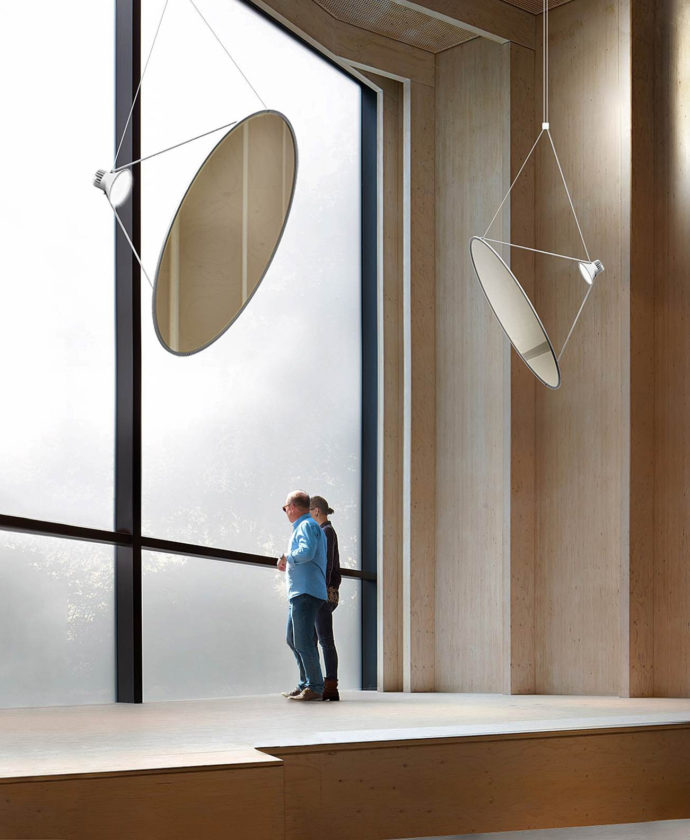 "The ""Amisol"" luminaire by Daniel Rybakken for Luceplan. The idea is incredibly simple: An LED spot illuminates a circular sun sail, resulting in soft, diffuse light."