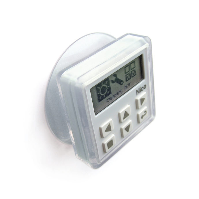 "The sun/temperature and brightness sensor ""NiceWay sensor"" measures the light conditions and regulates the elements."