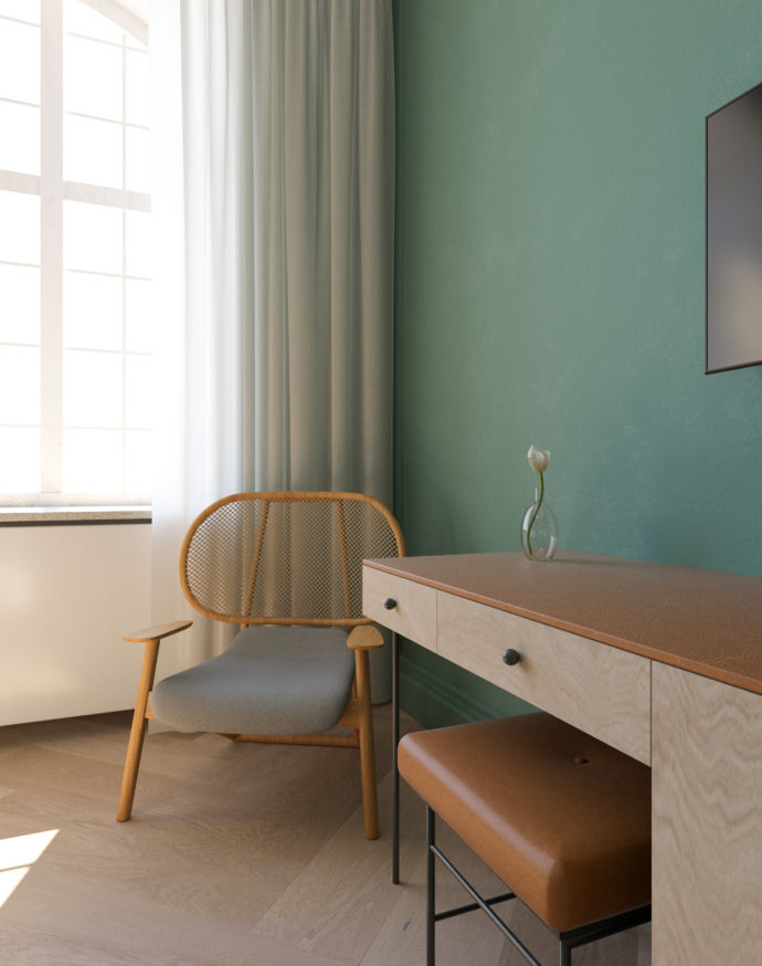 Cool base: Muted Colors were selected for the color scheme in the 77 rooms.
