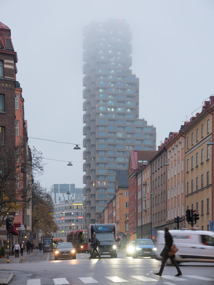 "View of the residential tower ""Norra Tornen"" of OMA. It currently gets a counterpart on the opposite side of the street."